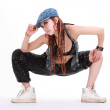Cute girl in various dance costumes and fun poses. — Stock Photo