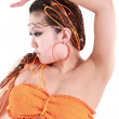 Cute girl in various dance costumes and fun poses. — Stock fotografie