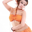 Cute girl in various dance costumes and fun poses. — Stockfoto