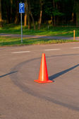 Traffic cone on the parking — Stock Photo