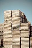 Crates vertical stacks — Stock Photo