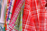 Mix color Shirt and Tie on Hangers , selling — Stock Photo