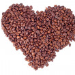 Coffee beans heart on white background — Stock Photo