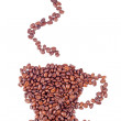 Coffee cup made of beans on white background — Stock Photo