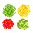 Set of different frozen vegetables isolated on white — Foto Stock