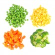 Set of different frozen vegetables isolated on white — Foto de Stock