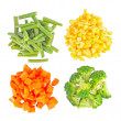 Set of different frozen vegetables isolated on white — Stock Photo #10993533