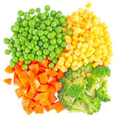 The mixed vegetables on white background — 图库照片