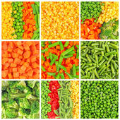 Set di sfondi di verdure surgelate — Foto Stock