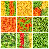 Zmrazená zelenina pozadí sada — Stock fotografie