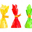 Three isolated colorful candies - red, green, yellow — Stock Photo