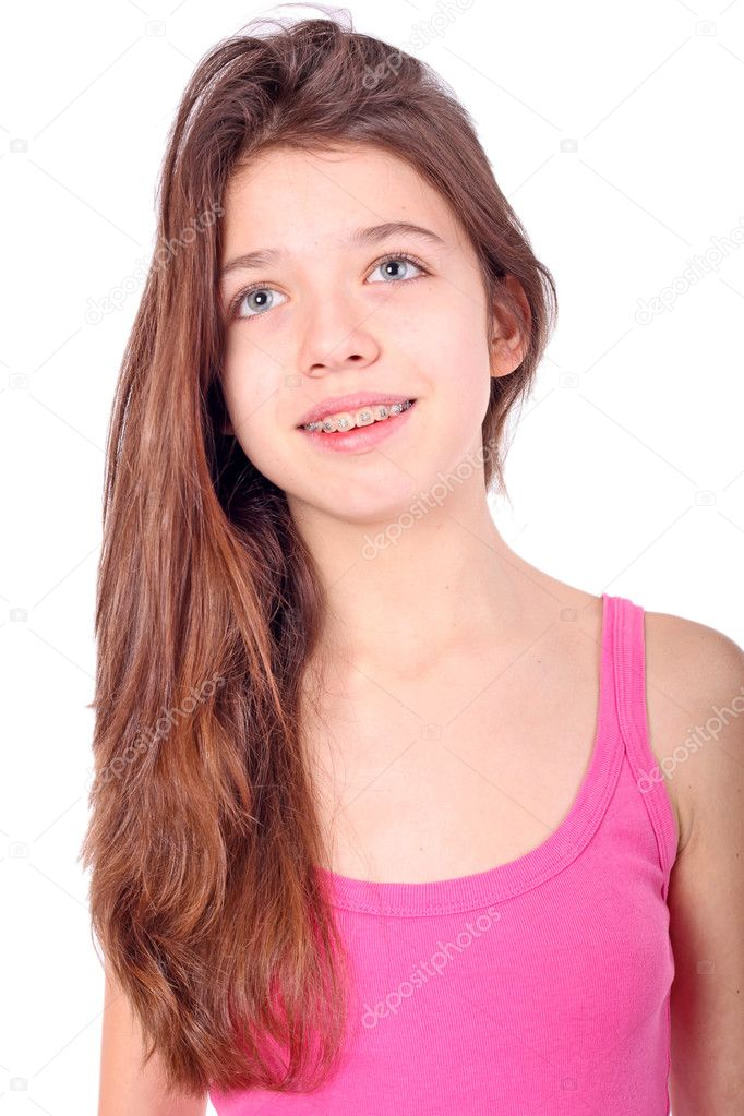 Beautiful young teen girl with brackets on teeth in white for Teenage beautiful girls