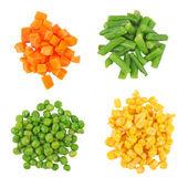 Set di diverse verdure surgelate isolato su bianco — Foto Stock