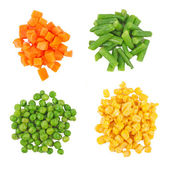 Set of different frozen vegetables isolated on white — 图库照片