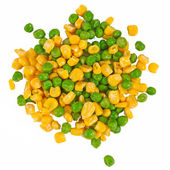 Corn and peas - the mixed vegetables background — Stock Photo