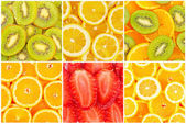 Set of tasty healthy fruits bright backgrounds — Stock Photo