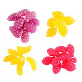 Sweet Fruit gummi candies assortment on white — Stock Photo