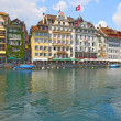 View of town on the river . Lucerne. Switzerland - Stock Photo