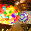 Traditional vintage Turkish lamps over light background in the night — Stock Photo