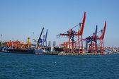 Grandes grúas en el puerto industrial de estambul, turquía. — Foto de Stock