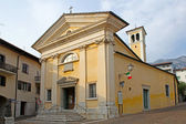 Great wall of the Cathedral of Gemona reconstructed after the earthquake of friuli — Stock Photo