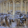 Ghiberti Paradise Baptistery Bronze Door Duomo Cathedral Florence Italy Door cast in the 1400s. — Stock Photo