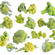 Fresh green Broccoli set isolated on a white background — Foto de Stock
