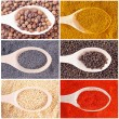 Set of spices heaps isolated on white background — Stock Photo