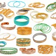 Set of the colorful Asian Bangles isolated on white. - Stock Photo