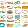 Set of the colorful Asian Bangles isolated on white. — Stockfoto
