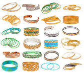 Set of the colorful Asian Bangles isolated on white. — Stock Photo