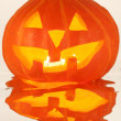 Halloween Pumpkin, Scary Jack O'Lantern isolated on white — Stock Photo #12360664