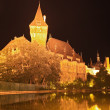 Budapest by night,  beautiful  Vajdahunyad Castle , Hungary - Stock Photo