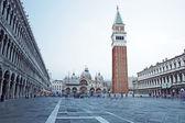 Piazza san marco ile campanile, basilika san marco ve doge sarayı. venedik, i̇talya — Stok fotoğraf