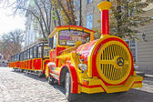 Funny touristic train taken in the center of Lviv, Ukraine — Stock Photo