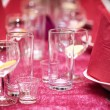 Table in the restaurant, the preparation before the banquet — Foto Stock