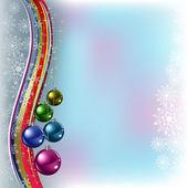 Navidad bolas de colores de felicitación en un azul — Vector de stock