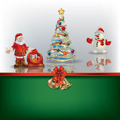 Christmas background with Sania snowman and tree — Stock Vector