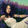 Beautiful lady in lavender — Stock Photo