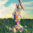 Beautiful lady in dress of flowers — Stockfoto
