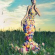 Beautiful lady in dress of flowers — ストック写真