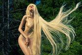 Mooie dame in de naaldhout bos — Stockfoto