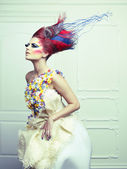 Lady with avant-garde hair — Stok fotoğraf