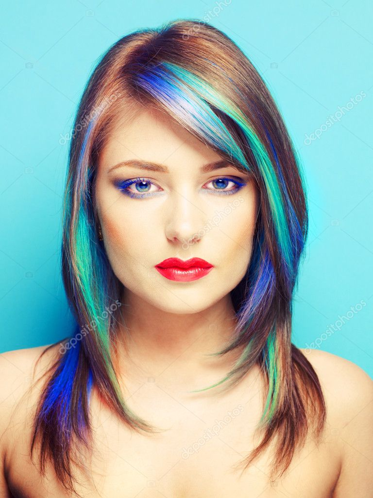 Photo of young lady with bright makeup on bright background  Stock Photo #12312190