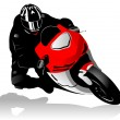 Stock Vector: Motorcycle racer