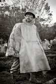 Korean war veterans memorial solider in blank and white — Stock Photo