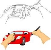 Hand drawing car — Stock Vector