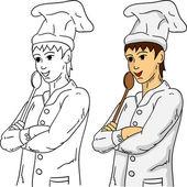 木のスプーンで調理します。 — ストックベクタ