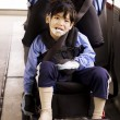 Stock Photo: Disabled little preschool boy in wheelchair on bus