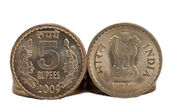 Close up of Indian Coin 5 rupees isolated on white backgroundcopy space — Stock Photo